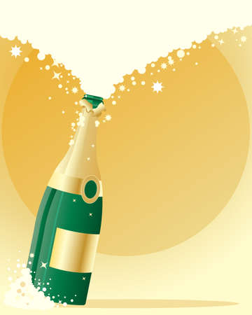 champagne celebration: an illustration of a green glass champagne bottle on gold background with bubbles and lots of space for text