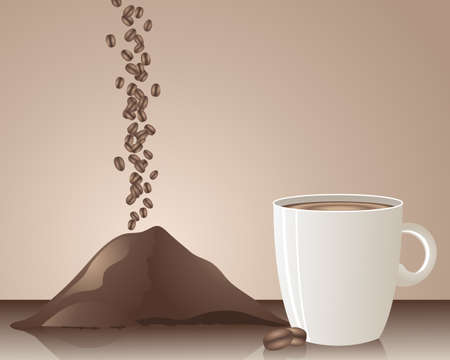 instant coffee: an illustration of tumbling coffee beans powder and hot drink on a beige background