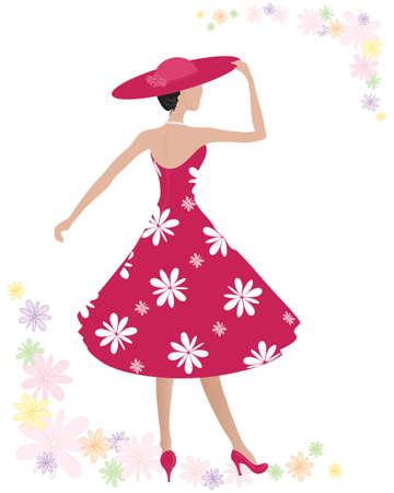 eine Darstellung einer Frau in einem wunderschönen roten Kleid mit großen weißen Blumen-Print und passendem Hut auf einem weißen Hintergrund mit bunten Sommerblumen