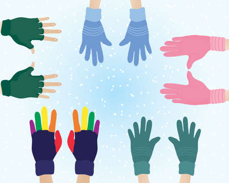 an illustration of pairs of hands with different colors and patterns of woolly gloves on a snowy background Illustration