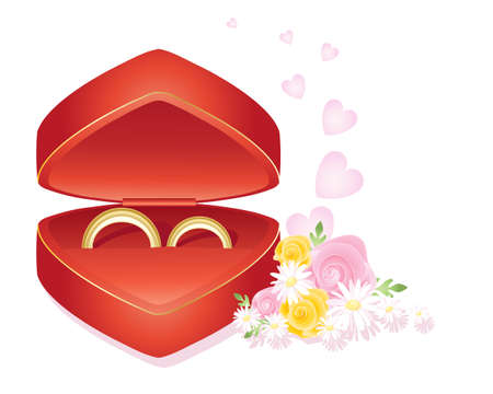 nosegay: an illustration of his and hers wedding rings in a heart shaped presentation box with roses and daisy posy at the side on a white background