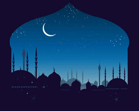 an illustration of an eastern skyline with domes and minarets under a night sky with a crescent moon Vector