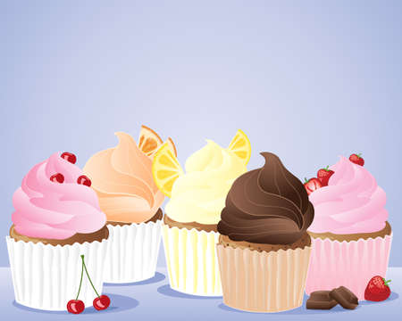 an illustration of a row of cup cakes decorated with cherries lemon orange chocolate and strawberries on a pale blue background Vector