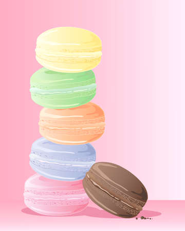 an illustration of a pile of colorful delicious macaroons on a candy pink background