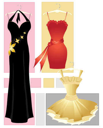an illustration of three party dresses in red gold and black on an abstract background