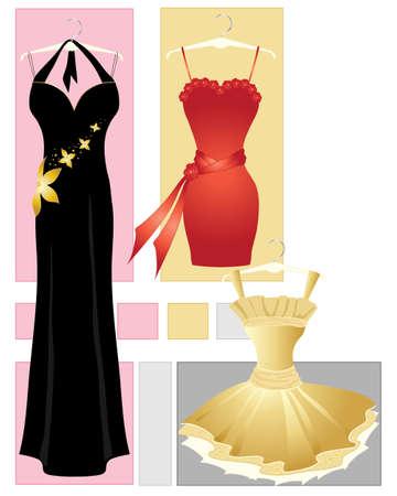 appendini: l'illustrazione di tre abiti da festa in rosso oro e nero su uno sfondo astratto
