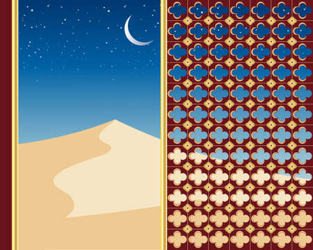 sand dunes: an illustration of sand dunes under a starry night sky viewed through a decorative gilded window with a cescent moon Illustration