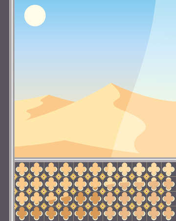 an illustration of a desert landscape viewed from an ornate balcony with voile curtain under a hot blue sky Stock Vector - 12868532