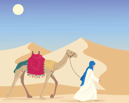 an illustration of an arabic man leading a camel through a desert landscape with sand dunes under a blue sky