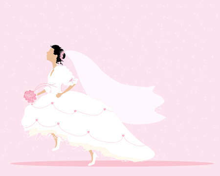 an illustration of a bride dressed in white and pink running with a pink rose bouquet and veil on a pink confetti background
