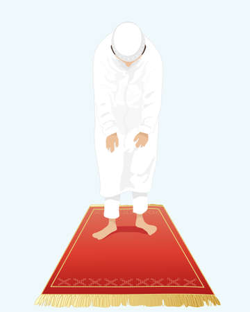 devout: an illustration of a muslim man dressed in traditional white clothing with bowed head standing on a prayer mat with a light blue background Illustration