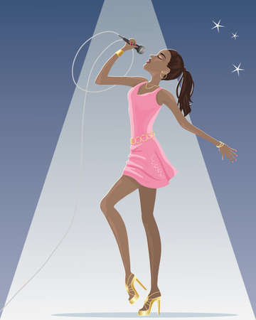 an illustration of a female singer wearing a pink dress and gold jewelery with a microphone on stage under a spotlight