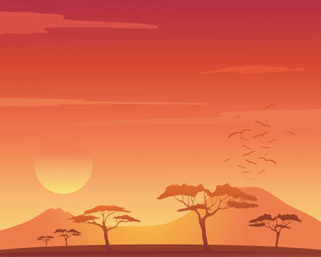 roost: an illustration of a beautiful african landscape with acacia trees mountains and birds flying to roost under an orange sunset