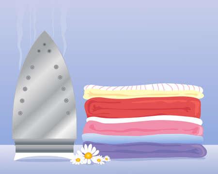 una ilustración de una pila de ropa recién lavada prolijamente apilados después de haber sido planchada sobre un fondo azul con las margaritas de verano