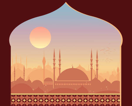 an illustration of an eastern city with mosque and minarets against a beautiful sunrise