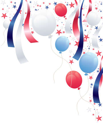 red and blue: an illustration of an independence day party background with balloons stars and ribbons in red white and blue