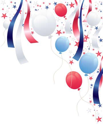 globos de fiesta: una ilustraci�n de un fondo de la independencia de las partes el d�a con estrellas globos y cintas de color rojo, blanco y azul Vectores