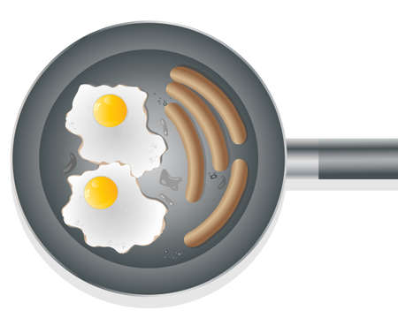 an illustration of a frying pan with two eggs and four sausages with droplets of oil on a white background Vector