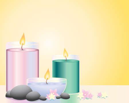 natura morta con fiori: un'illustrazione di tre candele profumate con ciottoli e floers su uno sfondo di fiamma