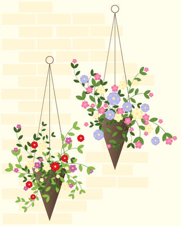 garden wall: an illustration of two decorative hanging baskets in summer against a warm brick wall