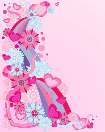 an illustration of a bright pink and blue retro design with flowers hearts and rainbows on a candy pink background Vector