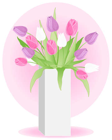 an illustration of a white vase full of purple pink and white tulips with green foliage against a pink background