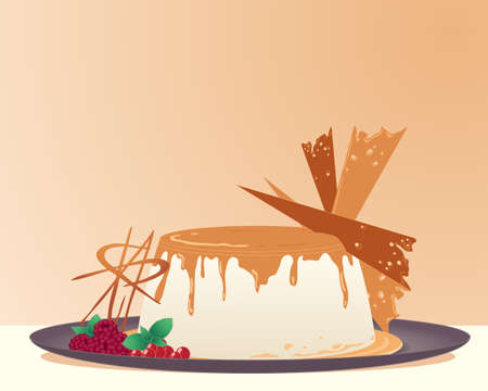 shards: an illustration of a creme brulee decorated with caramel shards raspberries and redcurrants on a dark plate with toffee color background