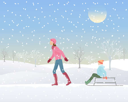 sledge: an illustration of a woman and a child with a sledge in a snowy park