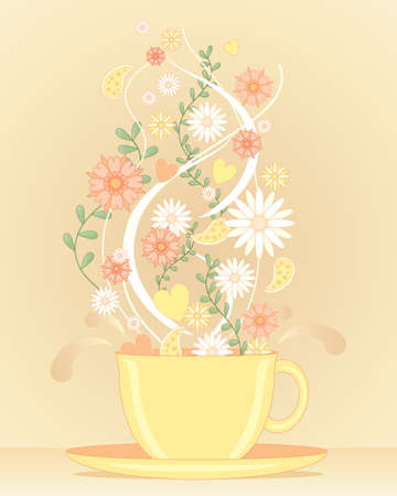 an illustration of a big yellow tea cup with flower steam and leaf design representing a herbal tea infusion