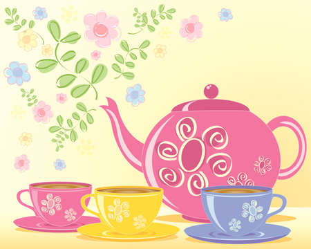an illustration of a pink decorated teapot and matching cups and saucers with a green leaf and flower background