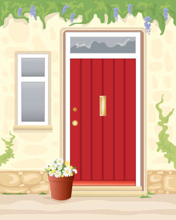 cottage garden: an illustration of a red cottage door with stone walls and a plant pot full of daisies