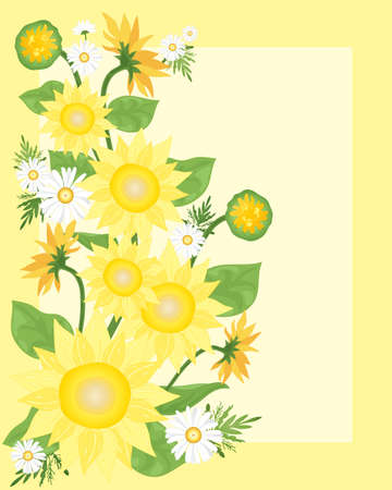 an illustration of beautiful yellow sunflowers with buds and leaves and chamomile on a lemon background Vector