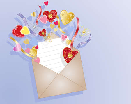 an illustration of a brown envelope with note card and colorful decorative love hearts in red pink and gold on a blue background Vector
