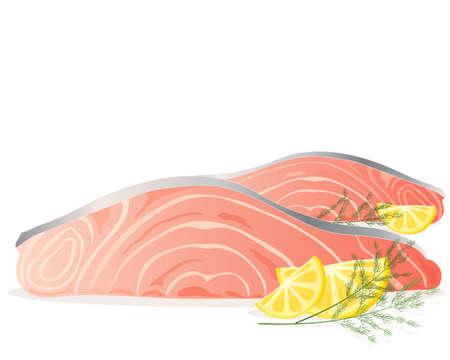 고명: 흰색 배경에 레몬 슬라이스와 딜 장식 신선한 핑크 연어 스테이크의 그림 일러스트