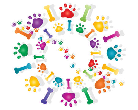 animal tracks: an illustration of colorful rainbow paw prints and bones with shadow in a circular design on a white background
