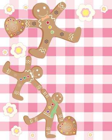 an illustration of three delicious gingerbread men with sugar decorations and flowers on a gingham background Stock Vector - 13327303