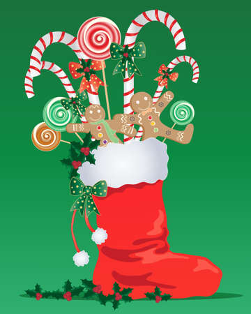 an illustration of a red christmas stocking with white trim full of festive candy with ribbon and holly on a green background Vector