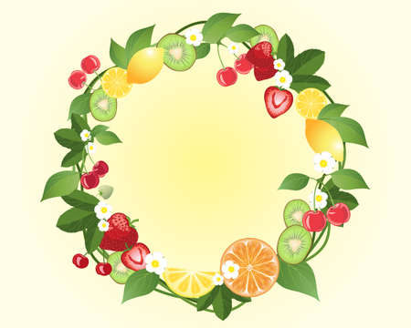 ornamental horticulture: an illustration of a decorative fruit wreath with kiwi lemon cherries strawberries and orange dotted with flowers and foliage on a pale yellow background