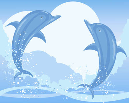 an illustration of two dolphins jumping from the ocean with waves bubbles and spray under a blue sky Stock Vector - 13403193