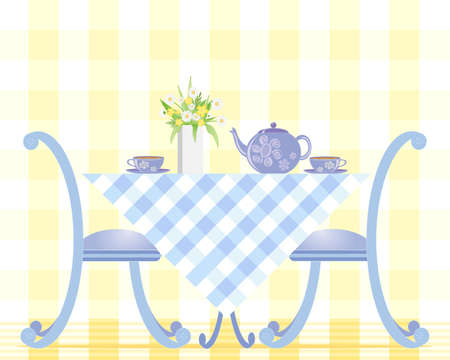 an illustration of a table set with tea cups teapot and a vase of daisies on a gingham tablecloth with two chairs on a pale yellow background
