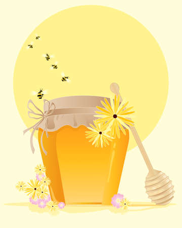 an illustration of a pot of organic honey with hessian top tied with a rustic bow flowers and honey bees under a summer sun Stock Vector - 13403206