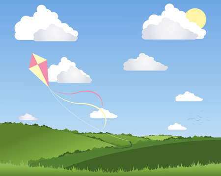flying kite: an illustration of a person flying a colorful kite in a beautiful summer landscape with white fluffy clouds and a blue sky
