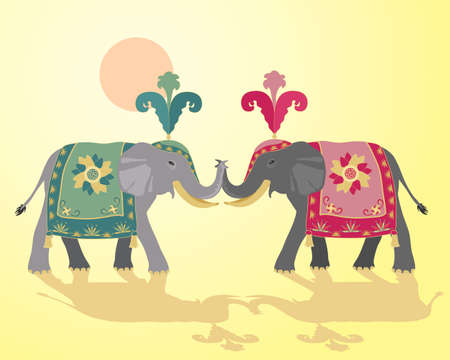 an illustration of two indian elephants in fancy ceremonial dress on a yellow background