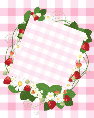 an illustration of a pale gingham note card with decoration of strawberries flowers foliage and vines on a tablecloth background Stock Vector - 13506672