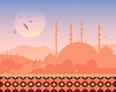 gilding: an illustration of a beautiful mosque with gilding in a city at sunset with ornate balcony and distant hills