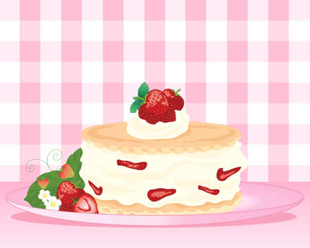 indulgência: an illustration of a strawberry shortcake dessert with fresh cream and fruit decoration on a pink background