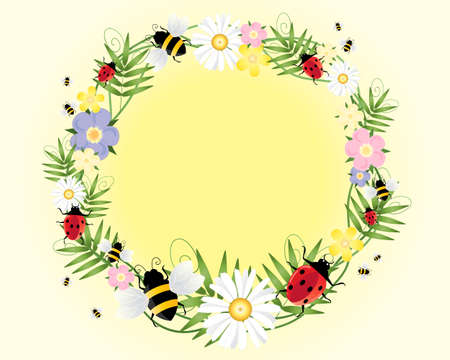 an illustration of ladybugs bees flowers and foliage arranged in a circle on a pale yellow background Vector