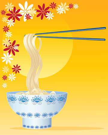 noodle bowl: an illustration of chinese noodles with decorated bowl and chopsticks on a golden and floral background