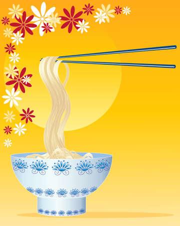 eine Darstellung von chinesischen Nudeln mit verzierten Schüssel und Stäbchen auf einem goldenen und Blumenhintergrund Illustration