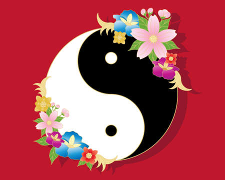 an illustration of a chinese yinyang symbol in black and white with stylized oriental flower decoration on a red background Illustration